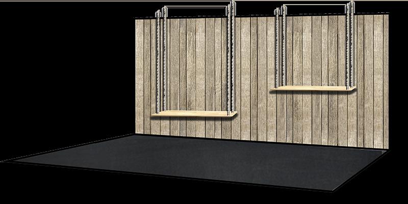 visuel en 3D du présentoir réalisé pour les vitrines du magasin à table