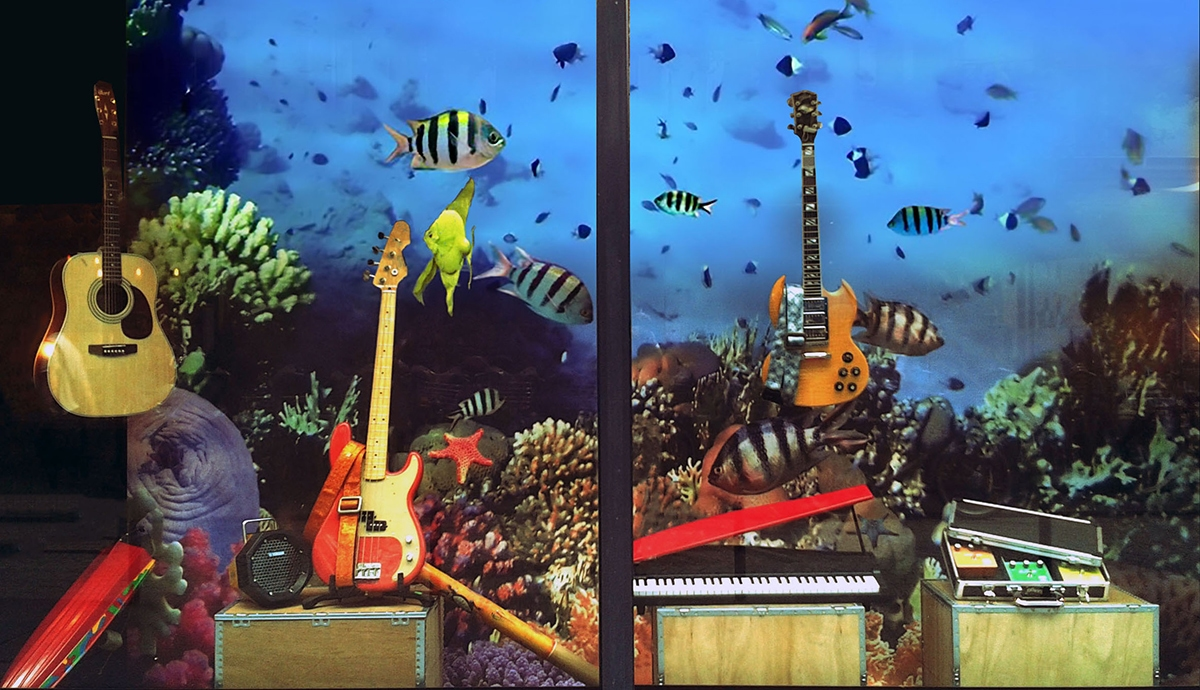 scénographie de vitrine pour magasin d'instruments de musique-ambiance aquarium-poissons tropicaux